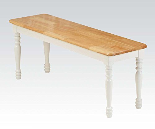 ACME 02864NW Farmhouse Bench, Natural and White Finish (Garden Rustic Old Furniture)