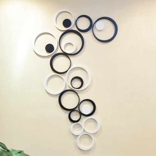 CA Fashion Decor 5 Circles Ring Indoor 3D Wall Art Home Decoration (Black  (5 Circles From The Largest To Smallest))