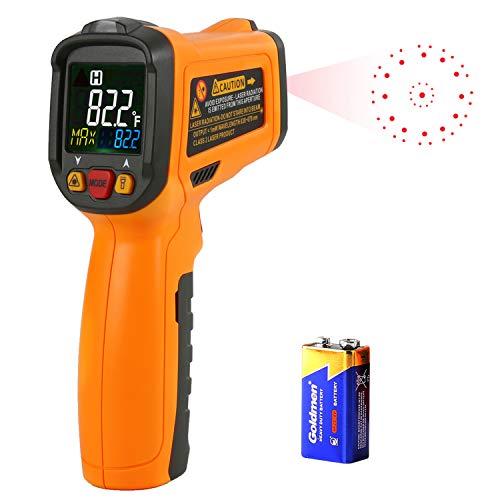 Infrared Thermometer AIDBUCKS PM6530B Digital Laser Non Contact Cooking IR Temperature Gun -58°F to 1022°F with Color Display 12 Points Aperture for Kitchen Food Meat BBQ Automotive and Industrial -