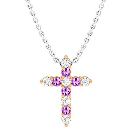 Dazzlingrock Collection 18K Round Amethyst & White Diamond Ladies Cross Pendant, Rose ()