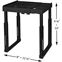 """Tools for School Locker Shelf. Adjustable Width 8"""" - 12 1/2"""" and Height 9 3/4"""" - 14"""". Stackable and Heavy Duty. Ideal for School, Work and Gym Lockers (Black)"""