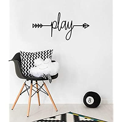 Play Cursive Arrow Wall Vinyl Sticker Decal Art Decor for Nursery, Bedroom, Playroom, or Home: Baby
