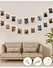 50 LED Fotoclip Lichtslingers, Kolpop 5M Fotopin Fairy Lights Batterij met Clips Indoor Cooper Draad Hangende String Fotolijsten Decoratie voor Slaapkamer Huwelijksfeest Kerstfoto