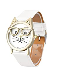 Lowpricenice(TM) Women's Cute Casual Glasses Cat Analog Quartz Dial Wrist Watch Faux Leather Band Metal Case (white)