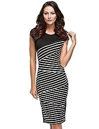 Fashine Women's Striped Bodycon Bandage Dress Pencil Office Dress Wear to Work