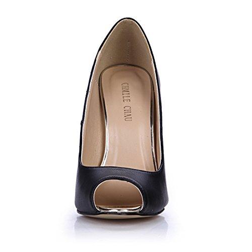 Toe Tacco Chmile moda A scarpe Spillo Alto pu partito Nero sexy Chau tacco peep Donna Metallo pompe Da wZRZyXAqr