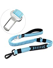 2 in 1 Bungee Dog Leash & Car Seatbelt, 150cm Reflective Shock Absorbing Dog Leads for Outdoors/Training - Pet Car Safety Harness for Medium/Large Dogs