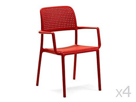Lote de 4 sillones de jardín de Resina Bora Rojo: Amazon.es ...