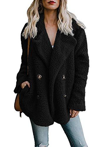 ASSKDAN Revers Manteau Femmes Outerwear Veste Chaud Manches Longue Boutons Coat Blouson Noir