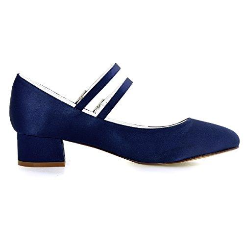 Satin Pompes Elegantpark Talon Bloc Chaussures Mariage Toe Mary Marine Jane Fermé Femmes Bleu Soirée De 4f4wqB8a