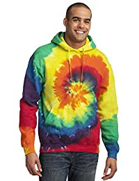 Port & Company Men's Essential Tie Dye Pullover Hooded Sweatshirt XL Rainbow