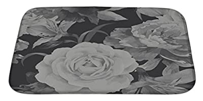 Gear New Bath Rug Mat No Slip Microfiber Memory Foam, Floral Pattern With Roses Watercolor Illustrat