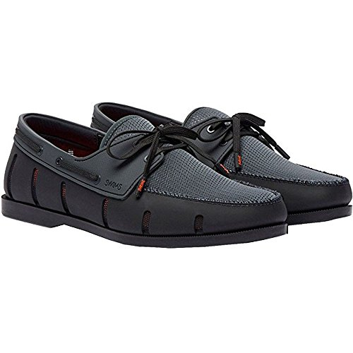 Swims 21227-433 Men's Boat Loafer Shoes, Black/Anthracite, 10.5 M US by SWIMS