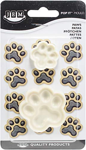 JEM Cutters 1102EP019 Pop It Paws Cake Cupcake Topper (Set of 2), White
