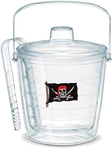 - Tervis 1053271 Pirate Flag With Swords Insulated Ice Bucket and Tongs with Emblem and Clear Lid - Boxed,