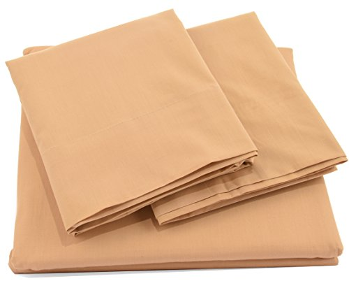 Pacific Linens Bed Sheet Set Deep Pocket Comfort | Poly Cotton Blend | Hypoallergenic, Wrinkle, Fade & Stain Resistant | 300 Thread Count | 4 Piece | Full Size | Khaki