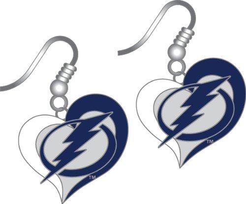 Tampa Bay Lightning Swirl Heart Earrings by aminco