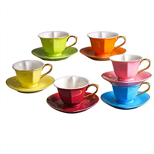 ARTVIGOR Coffee and Tea Service for 6 Heart Shape Glazed Mixed Color Boxed 150 Milliliter / 5.1 Ounce Roll Over Image to Zoom Cup and Saucer Sets, 3.7 x 3.7 x 2.5 inches, 6-Piece (Heart Cups)
