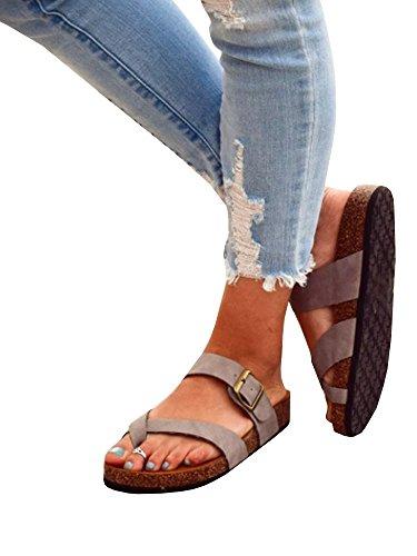Ermonn Womens Thong Flat Sandals Gladiator Buckle Strappy Cork Sole Summer Slides (8.5 B(M) US, Z-Grey) -