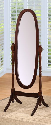 efurniturecenters Queen Ann Style Cheval Floor Wood Mirror Espresso Finish