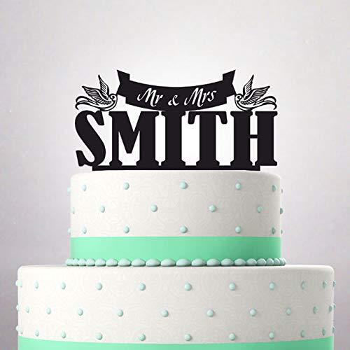 Decoración para tarta de boda, diseño de apellido de Mr y Mrs ...