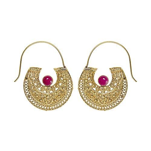 81stgeneration Women's Gold Tone Brass Tribal Boho Aztec Egyptian Simulated Gemstone Earrings