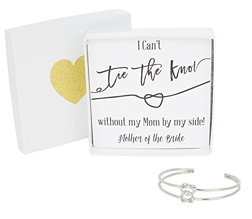 Bridesmaid Gifts - Tie The Knot Mother of the Bride Cuff Bracelet with Gift Box, Double Love Knot Cuff Bracelet, Wedding Party Gift Sets (Black Note Silver Bracelet)