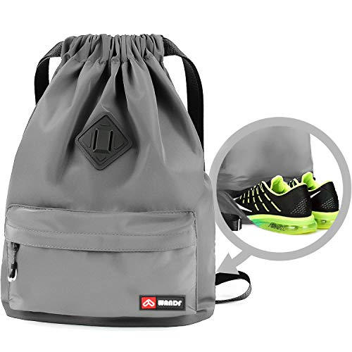 WANDF Drawstring Backpack String Bag Sackpack Cinch Water Resistant Nylon for Gym Shopping Sport Yoga (Grey 6030 with Shoe Pocket)