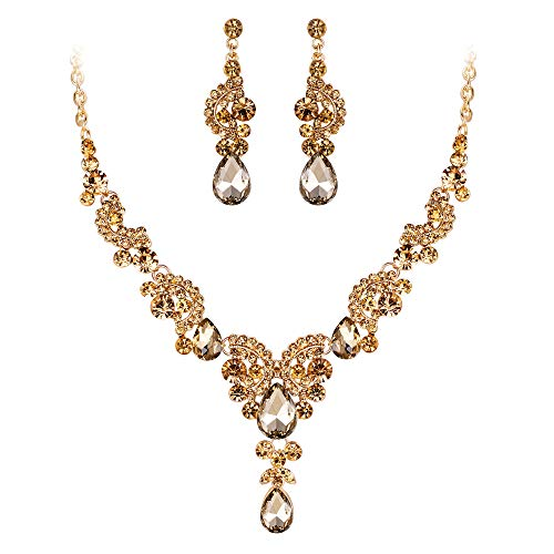 EVER FAITH Austrian Crystal Gorgeous Wedding Floral Wave Teardrop Necklace Earrings Set Brown Gold-Tone