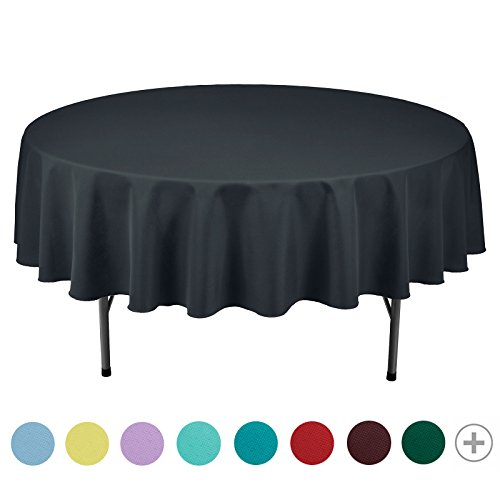 VEEYOO 90 inch Round Solid Polyester Tablecloth for Wedding Restaurant Party, Dark Gray