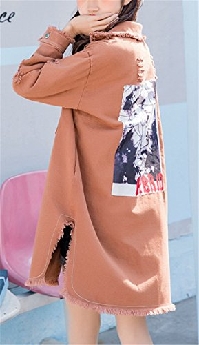 1348fc0bca15dc ... Beiläufig Stilvoll Langhülse Jeans Mädchen Mantel Damen Mode Jeansjacke  Emin Jacket Denim Macaron Farbe Frauen Herbst ...