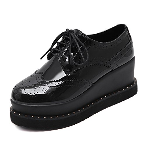 CYBLING Fashion Mid Heel Thick Sole Platform Lace Up Round Toe Oxford Shoes For Women Black kIVlc