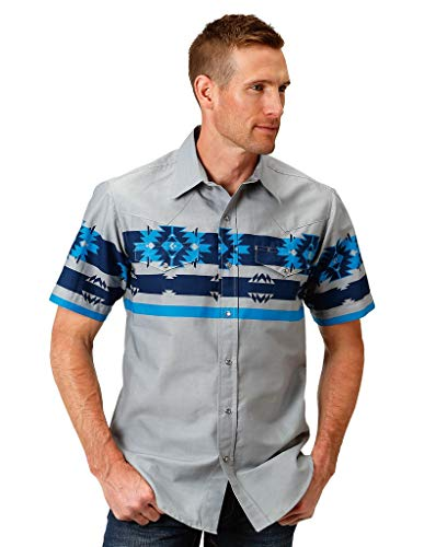 Roper Men's 2614 Blue Aztec Border Grey Large