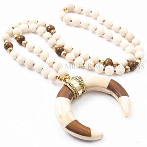 Fossil White Necklace (Brown and White Crescent Horn Pendant Necklace on Matte Fossil Stone with Bone and Turkish Brass Accents - 32 Inches Long Handmade Necklace by Miller Mae Designs)