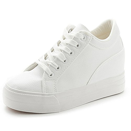 Wedge Leather Sneakers (Buganda Women Fashion Leather Sneakers Casual Lace up White Black Flat Shoes High Top Hidden Heel Wedges Platform Shoes)