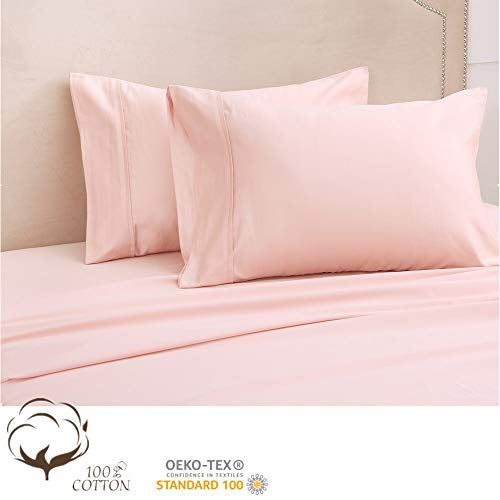 - Hyaline home 100% Egyptian Cotton Sheets, 500 Thread Count Long Staple Cotton, Blush Pink Queen Sheets Set for All Season, Sateen Weave for Soft and Silky Feel, Fits Mattress Up to 14'' DEEP Pocket
