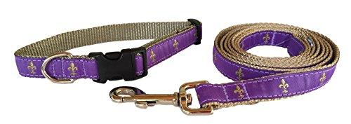 (Preston Fleur De Lis Dog Collar and Leash Set in Purple and Gold Ribbon on Gold Nylon Webbing (Small))