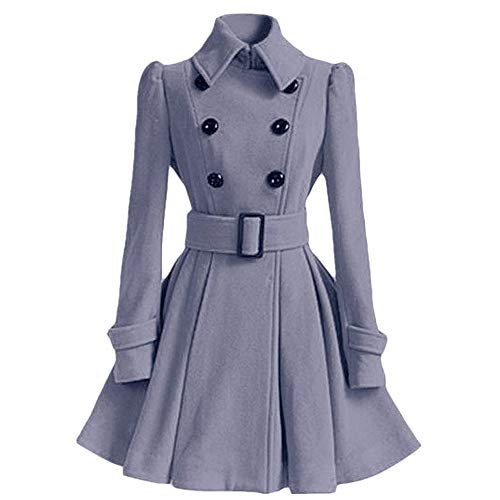 Birdfly Winter Warm Women Woolen Coat Pleated Skirt Parka Jacket Belt Overcoat Outwear Gray ()