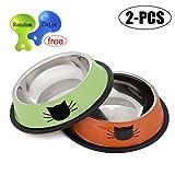 Legendog 2Pcs Cat Bowl Pet Bowl Stainless Steel Cat Food Water Bowl with Non-Slip Rubber Base Small Pet Bowl Cat Feeding Bowls Set