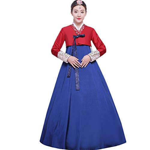 Korean Traditional Dress - XINFU Women Korean Traditional Long Sleeve Hanboks Dancing Dress Cosplay Costume Redblue