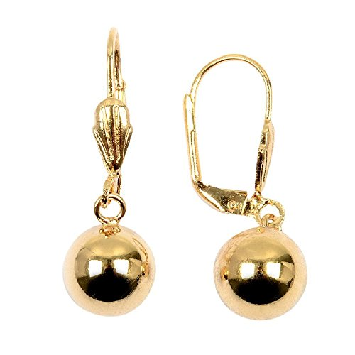 So Chic Jewels - 18K Gold Plated 10 mm Ball Leverback Dangle Earrings