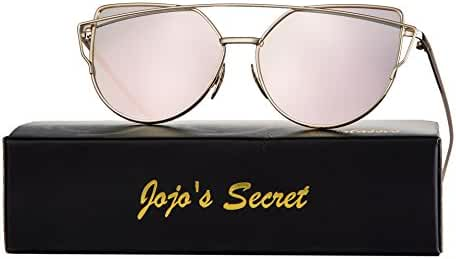 JOJO'S Secret Cat Eye Sunglasses Metal Frame Mirror Sunglasses For Women