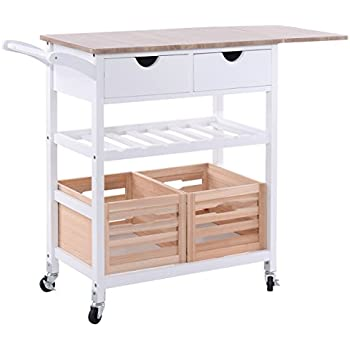 wooden com rolling with homcom trolley drawers storage amazon drawer kitchen microwave cart dp