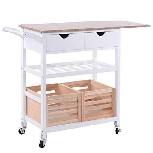 Kitchen island on wheels for utensil storage with bar and boxes and drawers