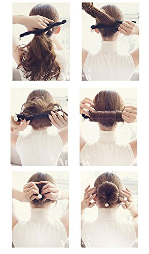 HAKDAY 3 PCS Magic Beauty Hair Hairstyle Foam Pearl Sponge Donut Maker Ponytail Bun Maker Twister,Black Photo #3