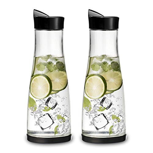 Chefoh Glass Water Carafe With Lid And Protective Base, EZ Pour Drip Spout 1 Liter/ 33.8 Oz, Fridge Water Pitcher Bottle Dispenser, Great For Juice, Lemonade, Iced Tea, Milk, Wine -