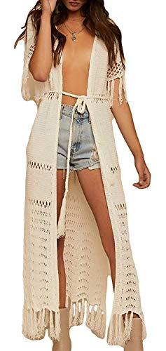 - Womens Beach Wear Kimono crotched Cardigans Swimwear Bikini Cover with Tassel (One Size, 43ZH Cream)