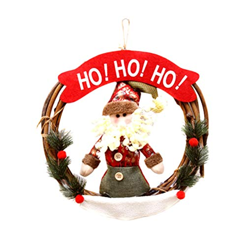Luoem 22cm Christmas Rattan Ring Wreath Door Hanging Pendant Santa Clause Ornaments Christmas Decoration