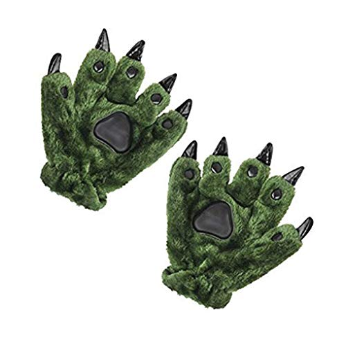 Unisex Halloween Cosplay Gloves Winter Warm Soft Plush Animal Costume Dinasour Bear Panda Cat Paw Claw Hand Gloves Women Teens Kids Cute Cartoon Mittens Fancy Party Dress up Role Play Props Xmas Gift