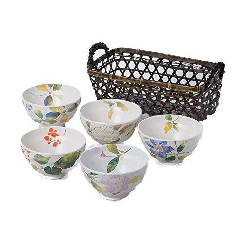 Zen Table Japan Hanadayori 5-Piece Flower Designed Rice Bowl Set With Bamboo Basket Made in Japan - White (Basket Japan)